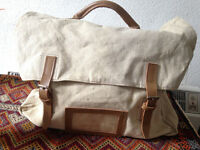Vintage Linen and Leather Satchel/Briefcase/Bag/Purse/Student/Messenger/Bespoke