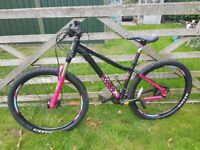 Pink and black soukri mountain bike. Excellent condition. Quick sale for racing bike. Bsrgain!