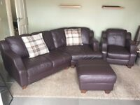 Lovely brown leather sofa with arm chair and pouffe
