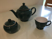 Denby Greenwich Tableware (tea pot, sugar bowl and jug)