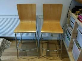 Pair of John Lewis bar stools - wood and chrome