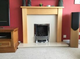 Light wood fireplace and surround (not including fire)