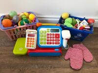 ELC Toy till, baskets and lots of food £15