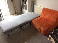 IKEA Two single sofa beds and armchair, sold separately or together, good condition, can deliver