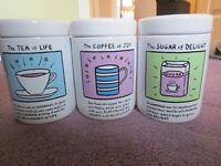 Edward Monkton Tea, Coffee, Sugar Canisters