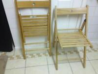 Pair of solid pine IKEA folding chairs