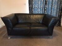 Black Leather 2 Seater Sofa and Large Footstool
