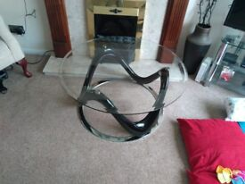 Glass and Black coffee table