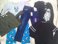 Boys clothes bundle age 6-7 Brand New jeans, long sleeve t-shirts, joggers Free Storm trooper pyjama