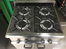 CATERING COMMERCIAL 4 BURNER GAS COOKER AND CUPBOARD UNDER CUISINE CAFE SHOP TAKE AWAY COMMERCIAL