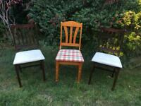 3 X CHAIRS - MODERN DINING KITCHEN CHAIRS, SHABBY CHIC UPCYCLE PROJECT - SHABBY CHIC