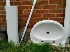 Bathroom sink with pedestal.