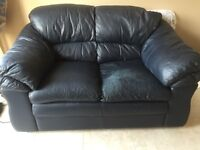 Two seater dark blue leather sofa FREE