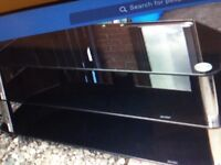 Black and silver television unit
