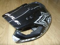 Wulf Cub Flite-Xtra Motocross Helmet Black / Silver - Motorcycle / Motorbike - Junior Size L 51-52cm