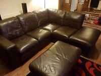 5 seater real leather corner couch + full suite