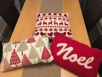 Set of 3 Christmas themed cushions.