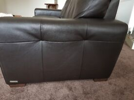 Brown leather large 2 seater sofa
