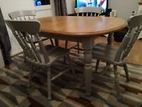 Pine extendable table and chairs