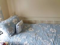 IKEA SINGLE 'DAY BED' WITH WHITE METAL FRAME - IKEA MATTRESS & LUXURY TOPPER - EXCELLENT CONDITION