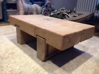 Solid oak beam coffee table