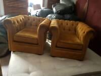 Chairs - Quality Golden Velvet Fabric Sofa Set
