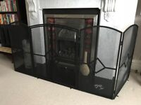 Large Black Fire Screen, Fireguard, Sparkguard ~ (60.5Wx24Dx32Hxinches)