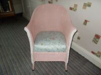 Vintage 1930's LLOYD LOOM Nursing Chair. Painted and recovered Seat