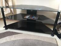 "42"" black glass tv stand"