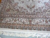 rug 10ft x 6ft 5in pink maroon and cream good condition