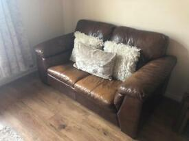 DFS tan leather sofa
