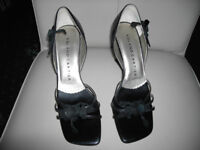LADIES ROLAND CARTIER BLACK LEATHER OPEN TOE SHOES, SIZE 4 UK, 37 EU, ONLY WORN ONCE ON A CRUISE