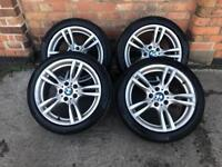 """Bmw 3 geniune, Series 18"""" alloy wheels 5x120 with tyres f30"""
