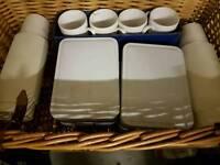 Vintage straw picnic basket / hamper