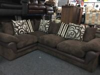NEW / Ex Display Dfs Dark Brown Cord + Half Leather Corner Sofa