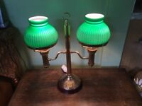 Desk or table lamp. Double green glass