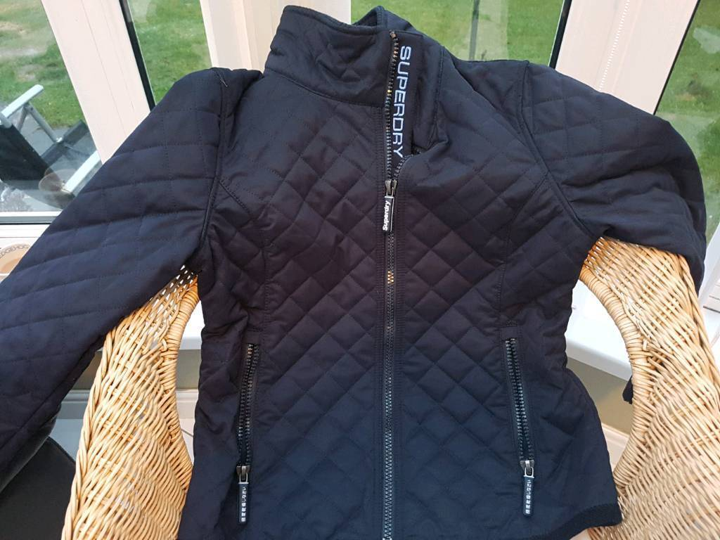 Womens Navy Superdry Quilted Jacket Size L In Plymouth Devon