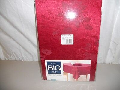 NIP The Big One Christmas Red Poinsettia Tablecloth  70 inch Round