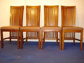 4 acacia wood dining chairs