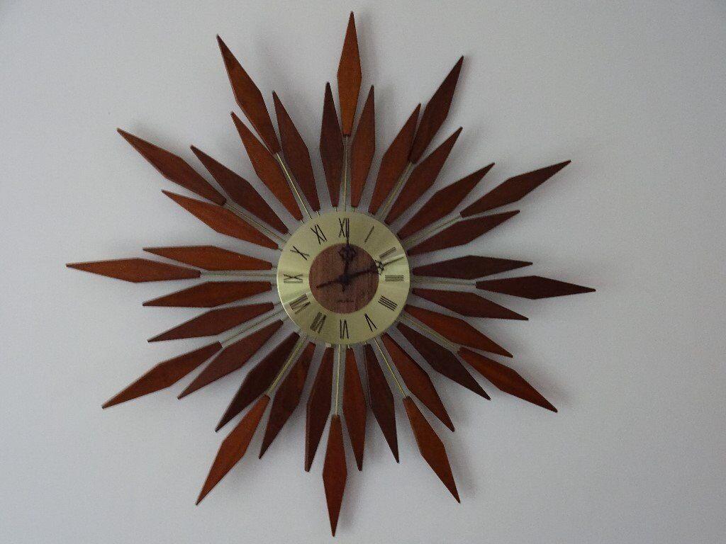 Rare Vintage Retro Mid Century Seth Thomas Starburst/Sunburst Wall Clock