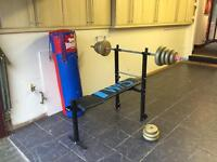 Wieder Fitness Weight Bench + Weight Bar With Weights