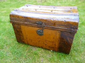 Antique Victorian Metal Trunk - loft clearance
