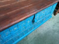 Blue Painted Storage Trunk - Coffee Table
