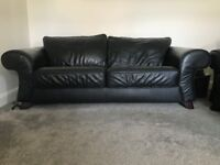 Two Piece, 3-Seater Leather Sofa