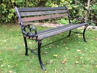 Vintage Cast Iron & Hardwood Garden Bench Patio Seat
