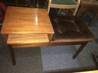 Chic Vintage Retro Teak Telephone Phone Table Bench Entryway Padded Seat