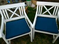 Large wooden garden chairs with new cushion