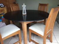 Granite topped oak dining table