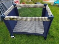 Blue/yellow check Graco travel cot