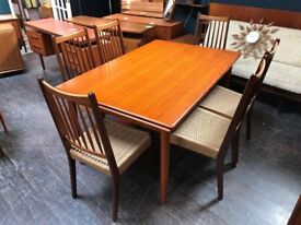 Danish Dining Table with 6 Chairs by Arne Hovmand Olsen for Mogens Kold. Retro Vintage Mid Century